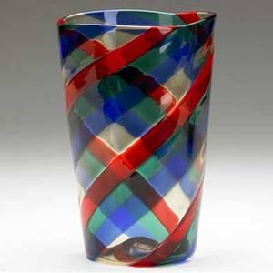 Fulvio bianconi  venini fasce ritorte blown glass vase in red blue green and clear stamped venini murano italia 8 14 x 5 14
