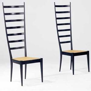 Style of gio ponti pair of ladderback chairs in black lacquered finish with caned seats made in italy labels 51 12 x 16 12 x 17