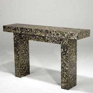 R  y augousti console table with motherofpearl inlay r  y augousti brass tag 35 x 59 x 14