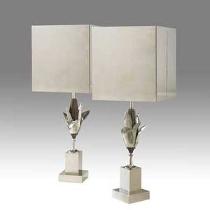 Charles et fils pair of silverplated brass and bronze table lamps with sculptural corn cob bases complete with original silver plated shades 33 12 x 12 18 x 12 18