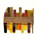 Venini wall sconce with golden and ambertoned glass elements set in a patinated steel frame 14 12 x 17 x 6 14