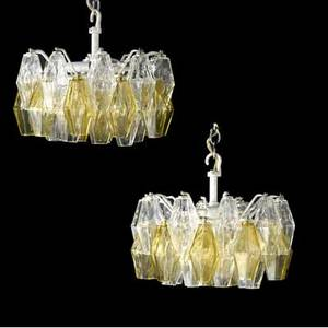Venini pair of chandeliers with clear and amber polyhedral prisms 10 x 13 dia