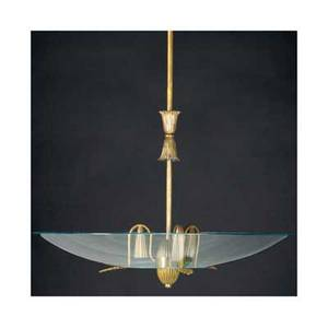 Gio ponti and pietro chiesa  fontana arte brass threelight ceiling fixture with circular glass diffuser 39 12 x 23 14