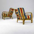 Wilhelm pair of armchairs with striped fabric cushions on bamboo frames 36 x 29 x 30