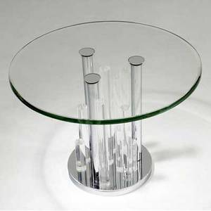 Charles hollis jones side table with beveled glass top on lucite and polished chrome pedestal base 17 12 x 24 dia