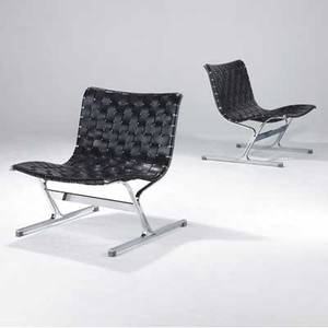 Ross littell pair of plr 1 lounge chairs with woven leather strap seats on stainless steel frames 29 12 x 26 x 27