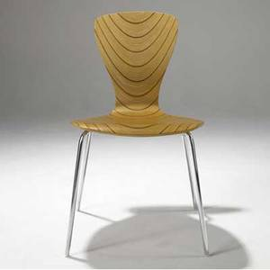 Tapio wirkkala  askooy nikke side chair in laminated bent plywood of birch and teak on chromed steel legs model 9019 31 12 x 20 x 20