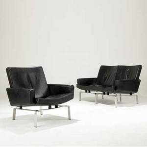 Preben fabricius and jorgen kastholm black leather loveseat and armchair suite on steel bases sofa 30 x 54 x 29 chair 30 x 31 x 29