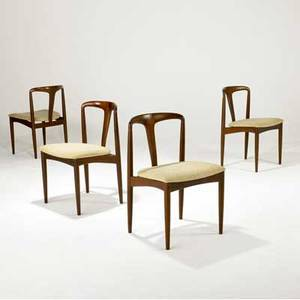 Uldum mobelfabrik set of four side chairs with beige wool seats on rosewood frames uldum mobelfabrik labels 30 12 x 20 x 18