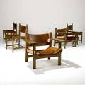 Borge mogensen pair of oak armchairs with buckled leather sling seats en suite with three side chairs armchair 27 x 32 12 x 23 side 32 x 21 12 x 19