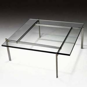 Poul kjaerholm pk61 coffee table with glass top over steel base 14 x 34