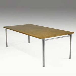 Poul kjaerholm pk55 dining table with teak top with steel base 27 x 40 x 80