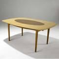 Finn juhl dining table with elliptical teak inset to birch plywood top on teak frame 29 x 68 x 47