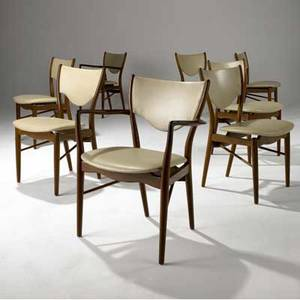 Finn juhl set of eight dining chairs with eggshell leatherette upholstery on teak frames two arm and four side armchair 32 x 25 x 19