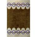 Pierre cardin wool rug with purple and brown pattern on taupe ground signed 130 x 81