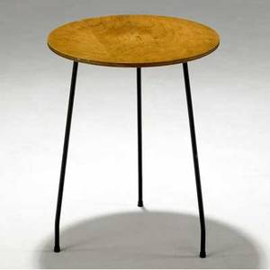 Mario dal fabbro prototype side table with ash laminate top on black enameled metal base 22 12 x 17 12