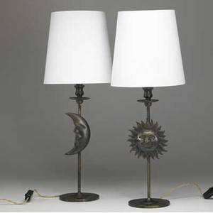 Garouste  bonetti pair of patinated bronze table lamps with cast sun and moon designs each with white paper shade one stamped bg overall 26 34 x 10 dia