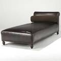 Juan montoya brown leather chaise with brass tacking on carved wooden feet provenance juan montoya collection 30 x 76 x 35 12