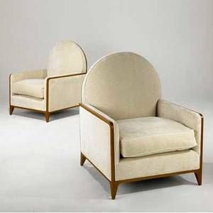 Juan montoya pair of club chairs upholstered in cream chenille on wood frames provenance juan montoya collection 42 x 33 x 33