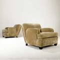 Style of jeanmichel frank pair of club chairs upholstered in tan velvet on ebonized wooden feet provenance juan montoya collection 30 12 x 36 x 36