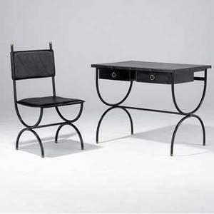 Jacques adnet desk covered in black stitched leather with brass hardware and ball feet complete with matching chair 29 12 x 36 x 34 chair 38 x 19 x 18 12