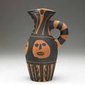 Picasso  madoura terra cotta pitcher painted with abstract faces stamped edition picasso madoura plein feu and incised edition picasso 236300 madoura v103 10 34 x 6 14 x 4 34