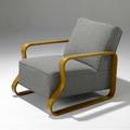 Alvar alto model no 44 armchair upholstered in wool fabric on birch laminate frame 27 12 x 25 14 x 32