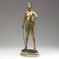 Bruno zach gilded bronze sculpture of a female lady with sword coldpainted details on stone base ca 1930 signed 28 12 x 12 x 7 12