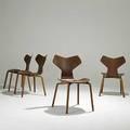 Arne jacobsen fritz hansen four rare teak plywood grand prix chairs c 1957 three with fritz hansen lable one branded made by fm denmark 30 12 x 18 x 19