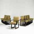 Vladimir kagan set of eight oak and wool cubist dining chairs provenance consigned by original new jersey owner vladimir kagan designs ny foil labels armchair 35 x 23 x 25 12 side 35 x 18