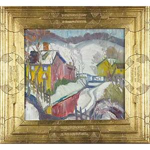 Joseph barrett american b 1936 creek house oil on canvas in artist frame signed 14 x 16 provenance private collection pennsylvania