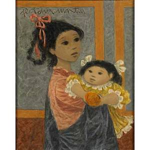 Fletcher martin american 19041979 little sister big sister oil on canvas framed signed 18 18 x 14 provenance private collection note proceeds from the sale of this painting will go t
