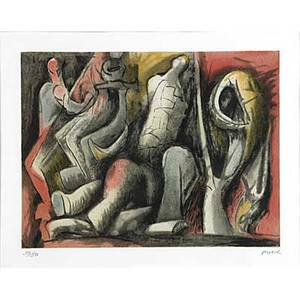 Henry moore british 18981986 four ideas for sculpture 198284 lithograph in colors framed signed and numbered 5050 9 38 x 12 18 plate 11 14 x 14 sight publisher raymond spenc