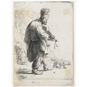Rembrandt van rijn dutch 16061669 the blind fiddler 1631 etching framed signed and dated in the plate 3 18 x 2 18 literature bartsch 138 biorklund 32a hollstein 138 note eusticke