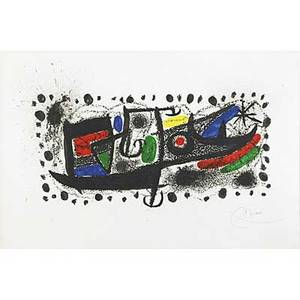 Joan miro spanish 18931983 joan miro und katalonien 1970 lithograph in colors framed signed and numbered hc 16 x 23 34 sight printer poligrata barcelona publisher lorangerie col