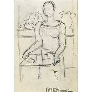 Jean metzinger french 18831957 woman holding a tray ca 1925 graphite on vellum framed estate stamp 4 58 x 3 14 sight exhibition making marksdrawings from the yoskowitz family col