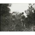 Thomas eakins american 18441916 male nude and j laurie wallace from rear in wooded landscape ca 1881 gelatin silver print printed in 1994 framed from an edition of 10 3 12 x 3 58