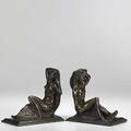 Isidore konti austrianamerican 18621938 untitled bookends 1914 bronze each signed c 1914 i konti 7 38 high each  provenance private collection texas