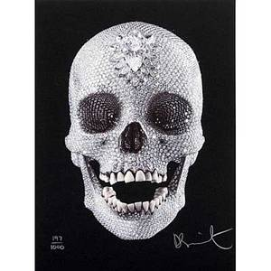 Damien hirst british b 1965 for the love of god 2009 screenprint in colors with diamond dust signed and numbered 1971000 12 34 x 9 38 sheet provenance private collection illinois