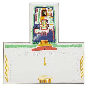 David hockney british b 1937 red square and the forbidden city 1982 lithograph in colors framed signed dated and numbered 8861000 19 34 x 21 12 irregular printer petersburg studio