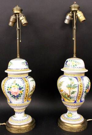 Pair of Continental Faience Table Lamps