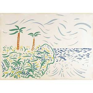 David hockney british b 1937 bora bora 1979 lithograph in colors framed signed dated and numbered 62100 34 12 x 47 78 sheet publisher tyler graphics ltd new york provenance pr