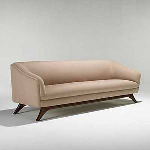 Vladimir kagan kagandreyfuss carved walnut and wool sofa unmarked 30 x 86 x 30