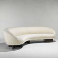 Vladimir kagan kagandreyfuss carved walnut and wool curved sofa unmarked 29 x 112 x 30