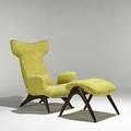 Vladimir kagan kagandreyfuss walnut and wool wing chair and ottoman unmarked 40 x 30 12 x 35 ottoman 19 x 21 14 x 24