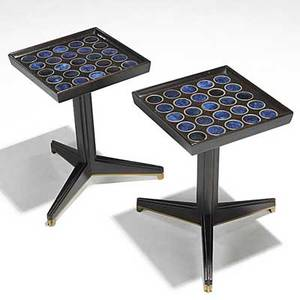 Edward wormley natzler dunbar pair of mahogany glazed tile and brass janus tables dunbar brass tags 16 12 x 11 sq