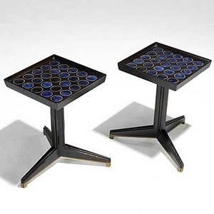 Edward wormley natzler dunbar pair of mahogany glazed tile and brass janus tables dunbar brass tags 16 12 x 11 sq