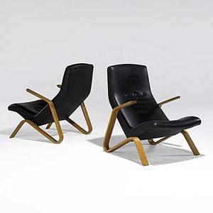 Eero saarinen knoll pair of birch and leather grasshopper chairs unmarked 35 x 26 12 x 34