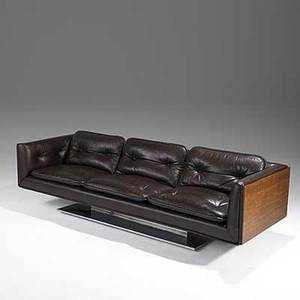 Warren platner lehigh leopold leather walnut and chromeplated steel sofa 1970s 25 x 93 x 31