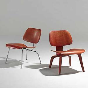 Charles and ray eames herman miller two anniline dyed lounge chairs one lcw one lcm unmarked lcw 27 x 22 x 24 lcm 26 12 x 22 x 25